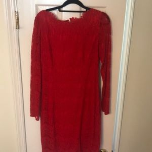 Red, long sleeve, Lace dress